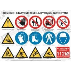 Sudėtinis ženklas statybvietei SZ-01A. (15 ženklų)
