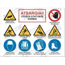Sudėtinis ženklas statybvietei SZ-02A (10 ženklų)