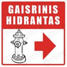 Gaisrinis hidrantas su rodykle į dešinę