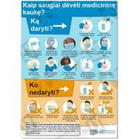 Kaip saugiai dėvėti medicininę kaukę